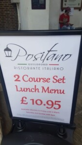 Positano Lunch Menu Offer